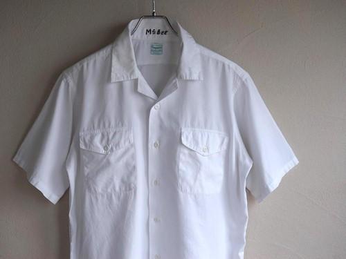 1950's [Conqueror] マチ付き オープンカラー S/Sコットンシャツ ホワイト 実寸(L位)