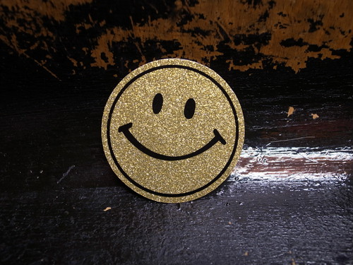 70's SMILE GLITTER Vintage Sticker GOLD