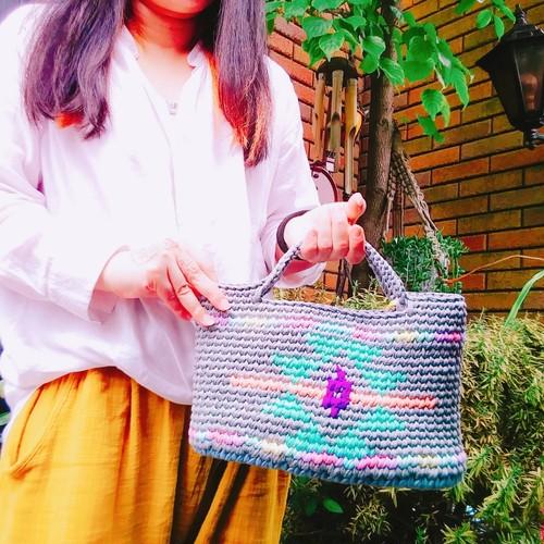 手編み ネオンカラー オルテガ柄ネイティブ風 バッグ ズパゲッティ  トートバッグ タッセル トグルバッグ 蛍光 コンチョバッグ