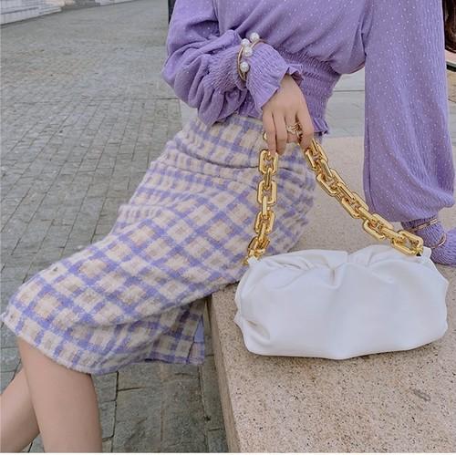 feminine チェックペンシルスカート c1710