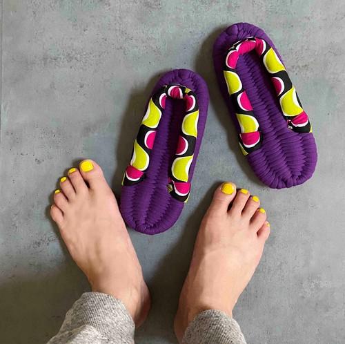 psychedelic< Yellow x purple>/レディース/エコなルームシューズ・布ぞうり
