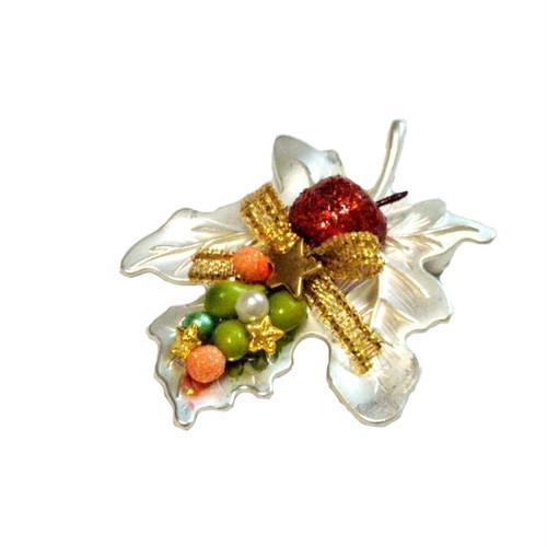 和のクリスマス クリスマスリーフ帯留め・アップルツリー