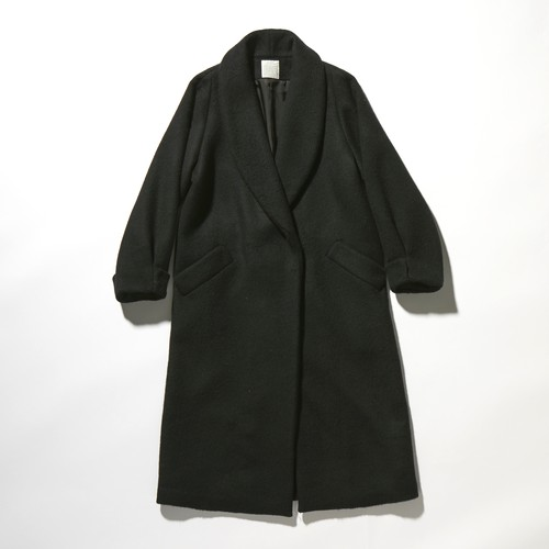 【FILL THE BILL】《WOMENS》BEAVER MELTON SHAWL COLLAR COAT - BLACK