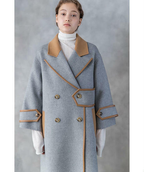 BICOLOR DESIGN WOOL COAT / SALT + JAPAN