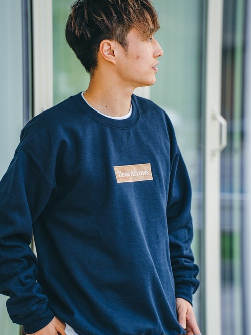 【2/10(wed)21:00販売開始】ThreeArrows BOX 刺繍LOGO SWEAT(navy)