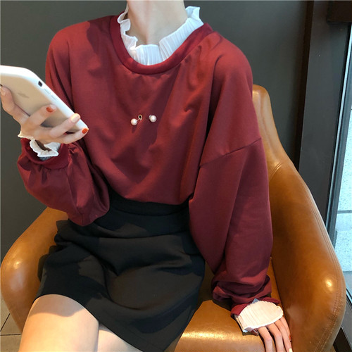 【トップス】春服新作韓国風ファッションカジュアルゆったり長袖上偽2着パーカー