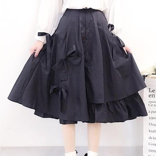 【ボトムズ】無地リボンキュート不規則カジュアルスカート