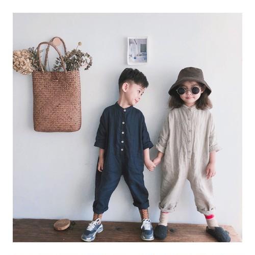 -Cotton Linen Button Jumpsuits with Pockets-