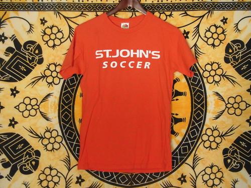 USA古着プリントTシャツS赤ST.JOHN'Sサッカー綿100両面 極美品