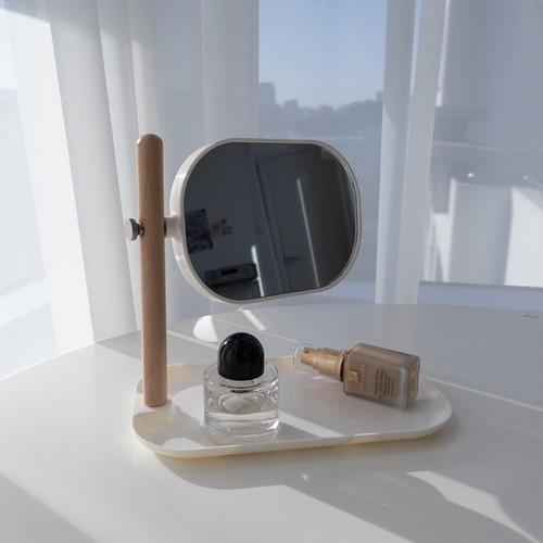 natural wood mirror tray / ナチュラル ウッド ミラー トレー 卓上 2面鏡 韓国 北欧 雑貨