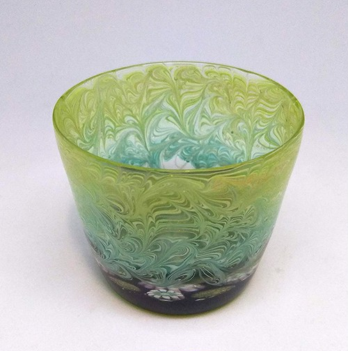 【core0004】小暮紀一作・コアガラス冷酒杯 Norikazu Kogure Core-formed glass cup for cold Sake