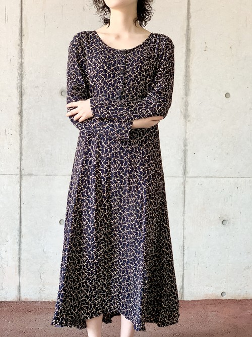 Vintage Rayon Pedicel Dress Made In India