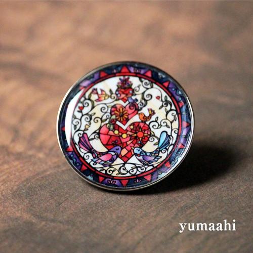 ピンズ・ピンバッチ「サンサンハート」 【小鳥・ハート雑貨】
