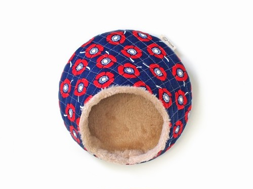 ハリちゃんのおやすみベッド(冬用) フラワー ネイビー / Hedgehog bed for winter