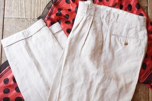 80's tucked pure linen Slacks