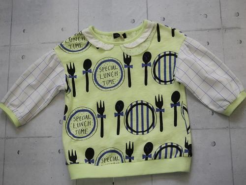 UNICA スプーンとフォークとお皿柄7分袖Tシャツ