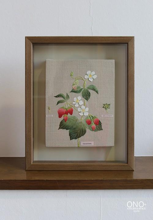 コラージュ作品『植物図鑑 苺』