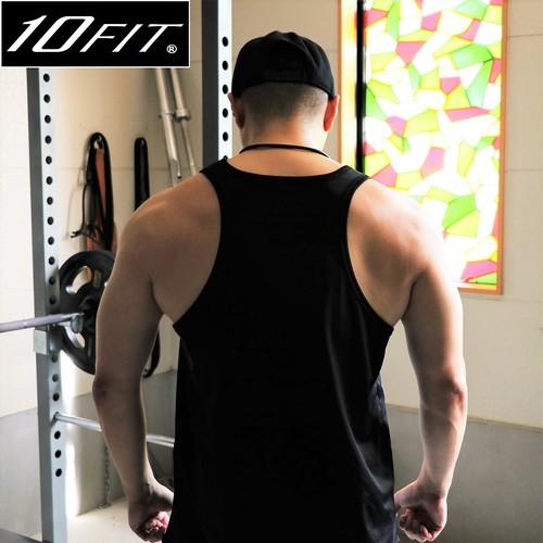 10FIT タンクトップ トレーニング 筋トレ ボディビル メンズ TE-23 黒 ロング丈