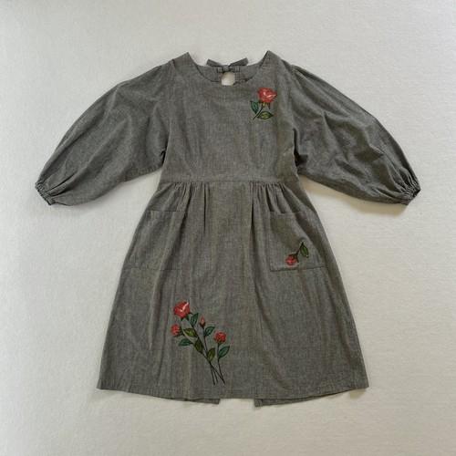 back open rose patch dress