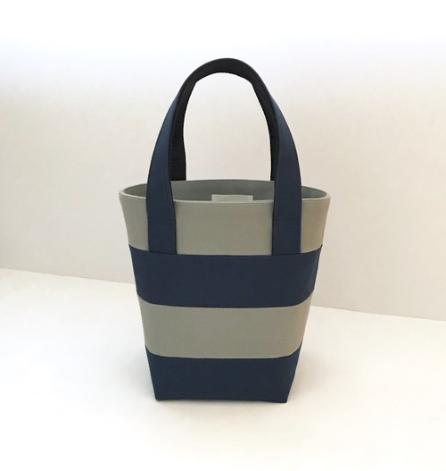 border mini tote bag ▶︎▶︎ gray × blue