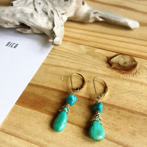 【14kgf】Turquoise09~サーフィン&ビーチピアス~