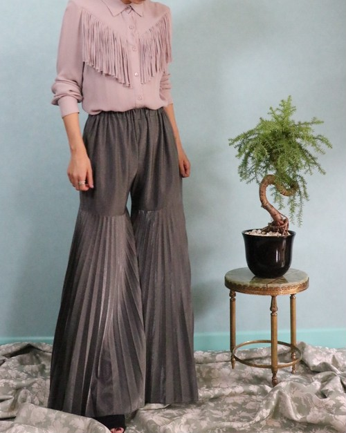 70's lame pleats pantalon