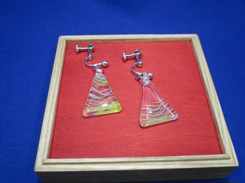 三角イヤリング(色ガラス・黄色ミックス)