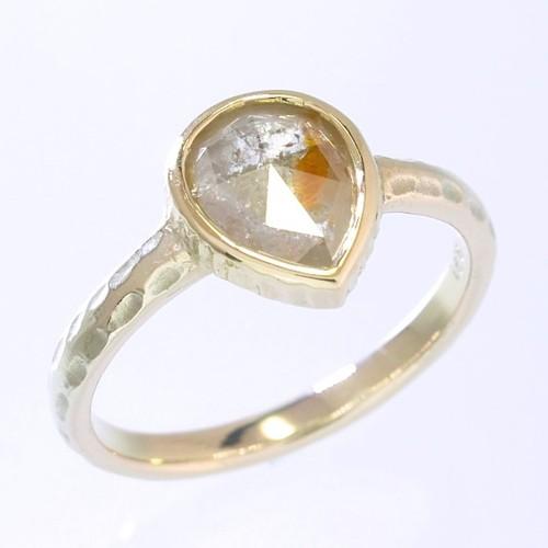0.91ct オーガニック ダイヤモンド K10YG ソリテール リング『あんず』