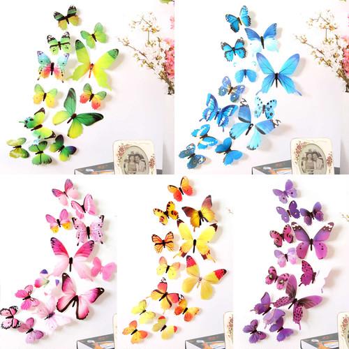 蝶の立体ステッカー。磁石なし、5色X12羽=60羽。磁石付き2枚羽を12羽同梱
