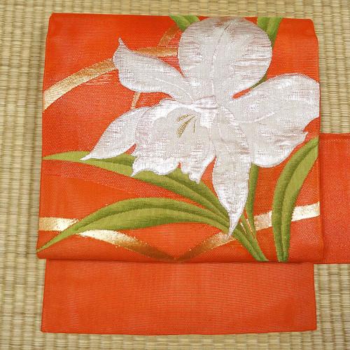 夏用 赤橙色に大輪の花 名古屋帯