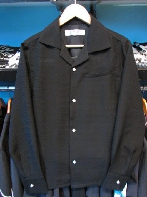 L/Sシャツ ブラック/織りボーダー