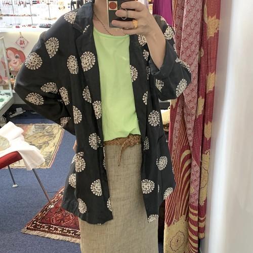 vintage china pattern silk oversized jacket