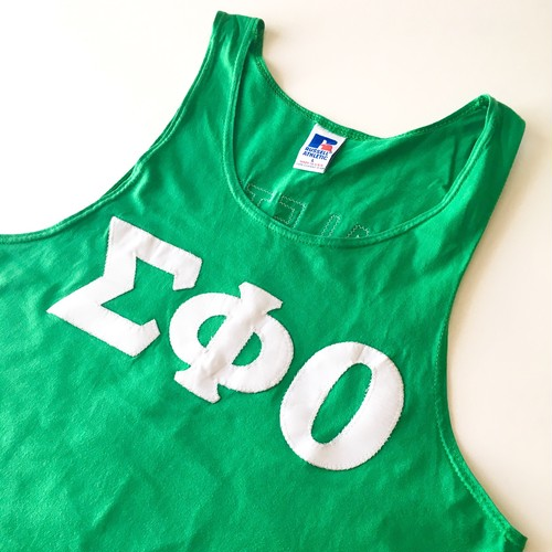 RUSSELL ATHLETIC : 「ΣΦO」 patch tank top (used)