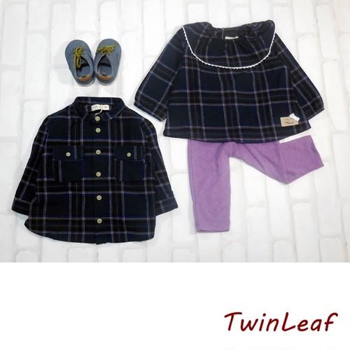 チェック襟フリルプルオーバーと長袖スタンドカラーシャツのセット 双子ベビーキッズ服2枚セット<19aw-mt001r>