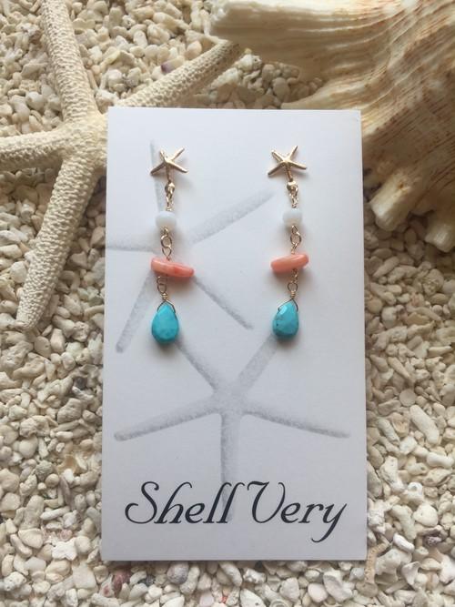 《14kgf 》starfish×turquoise pierce