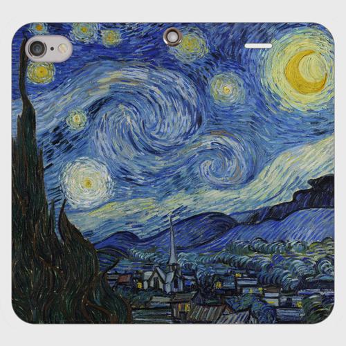 ゴッホ「星月夜」 手帳型スマホケース(帯なしタイプ)