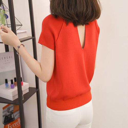 半袖 Tシャツ ラウンドネック クルーネック アイスシルク ニット バックコンシャス シャツ スリム 無地 ビスコース 通勤 オフィス
