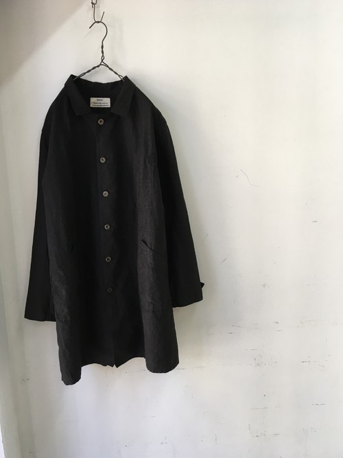 """kaval/shop coat """"high count linen""""(カヴァルの黒いリネンコート)(期間限定販売)"""