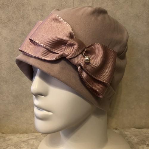 揺れるパールチャームのケア帽子 ピンク