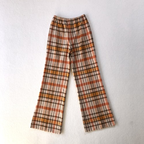 orange check polyester pants (V5048A)