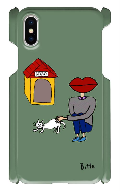 白ねこを可愛がる人 スマホケース iPhoneX