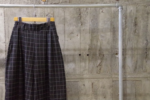Windowpane check wide shorts(USED)