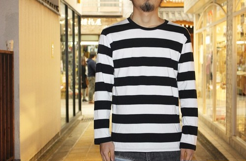 Big border long sleeve t-shirt (White × Black)
