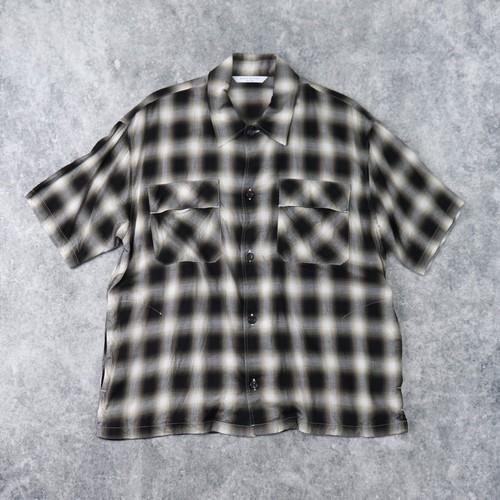 【MANUAL ALPHABET】S/S SHADOW CHECK WORK SHIRT (BLACK) マニュアルアルファベット 半袖シャツ ワークシャツ チェック柄 MADE IN JAPAN
