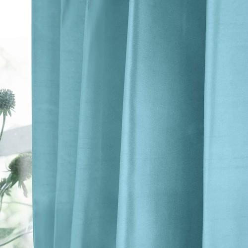 シャイニー/ブルー 完全遮光 1級遮光 遮熱・断熱 防音 形状記憶加工 ウォッシャブル カーテン 2枚入 / Aフック サイズ(幅×丈):100×178cm kso-026-100-178
