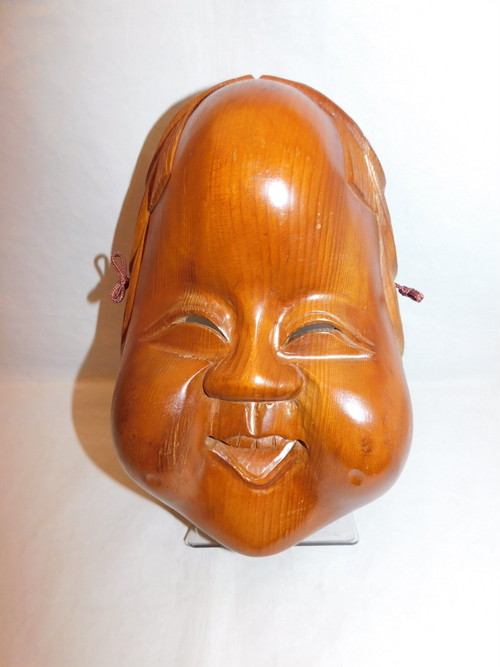 お福面 flat face woman mask(wooden work)