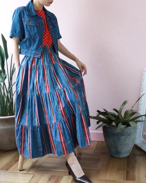 blue × red tiered skirt