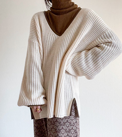 【écru】Eco leather bicolor Knit