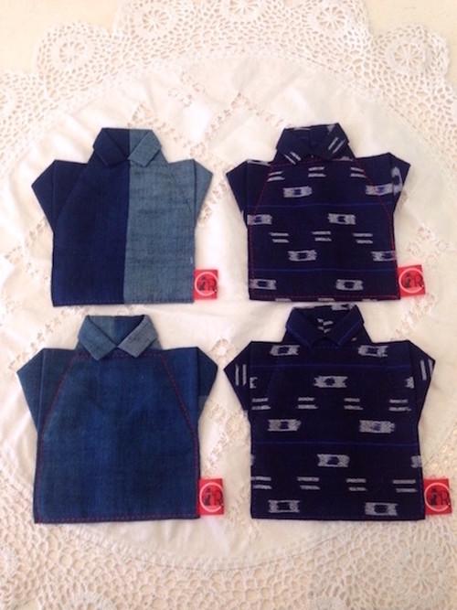 和小物 かわいいシャツ型コースター かすり4枚セット