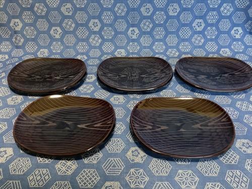 紀州塗 溜つつみ銘々皿 毛彫 5枚組